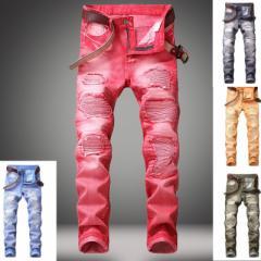 新品 29-42インチ ダメージ ライダースパンツ デニムパンツ カジュアル メンズ デニム パンツ デニム ジーンズ バイカーパンツ ズボン