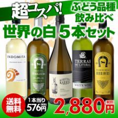 ワインセット 白5本 世界のぶどう品種飲み比べ 超コスパ白ワインセット 6弾 【送料無料】[ワインセット][長S]