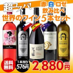 ワインセット 赤 白 5本 世界のワイン飲み比べ 超コスパ バラエティワインセット7弾 長S 赤 白 ロゼ ミックス