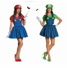 即日発送 ハロウィン コスプレ仮装 スーパーマリオ風  コスチューム ワンピース 大人用 女性用 ルイージ風 12時までのご注文当日発送