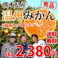 みかん 送料無料 温州みかん 秀品 5kg M〜3L 熊本県産 3箱購入で1箱おまけ 蜜柑 ミカン
