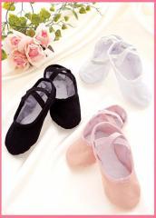 バレエシューズ 総キャンバス ★『ピンク&ブラック&ホワイト』 16〜26cmまで!