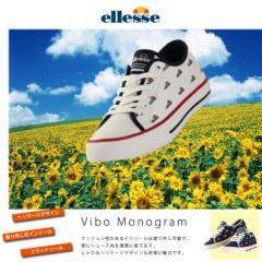 エレッセ【ellesse】レディース コートシューズ ヴィボ モノグラム V-CU751 1804 ロー ホワ