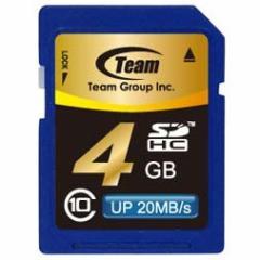 SDカード 4GB class10 メモリーカード SDHCカード 10年保証付 TEAM チーム Up to 20MB SDHC TG004G0SD28K 送料無料