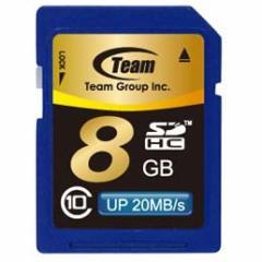 SDカード 8GB class10 メモリーカード SDHCカード 10年保証付 TEAM チーム Up to 20MB SDHC TG008G0SD28K 送料無料