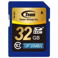SDカード 32GB class10 メモリーカード SDHCカード 10年保証付 TEAM チーム 最大20MB/秒 SDHC TG032G0SD28K 送料無料