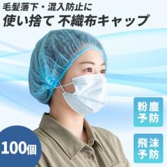 【100個セット】不織布 キャップ フリーサイズ 防護キャップ 飛沫 粉塵 予防 ウイルス対策 衛生 加工 研究 検品 検査 毛髪混入防止 衛生