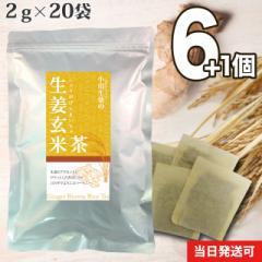【送料無料】小川生薬 生姜玄米茶 2g×20袋 6個セットさらにもう1個プレゼント