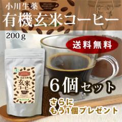 小川生薬 有機玄米コーヒー 200g 6+1個セット