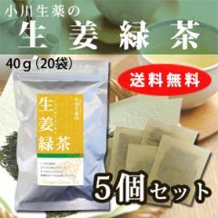 【送料無料】小川生薬 生姜緑茶 2g×20袋 5個セット