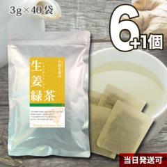 【送料無料】小川生薬 生姜緑茶 2g×20袋 6個セットさらにもう1個プレゼント