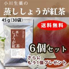 【送料無料】小川生薬 蒸ししょうが紅茶 1.5g×30袋 6個セットさらにもう1個プレゼント