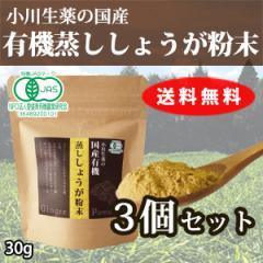【送料無料】厳選小川生薬 国産有機蒸ししょうが粉末(蒸し生姜粉末) 30g 3個セット