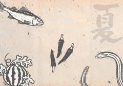 ペーパー・ランチョンマット 『切り絵/夏の旬』 10枚入 (B4版) LUN-062