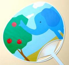 アニマルうちわ『Africolore』ゾウ  UCW-052