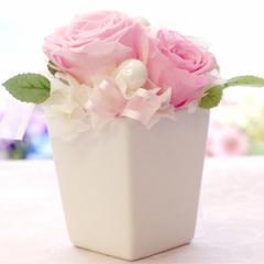 プリザーブドフラワー スクウェア ギフト ポット型 誕生日 結婚式 電報 プレゼント 花 お祝い 贈り物 プリザーブドフラワー母の日 フラワ