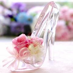 母の日 人気 プリザーブドフラワー ギフト シンデレラ プレミアム 誕生日 プレゼント 電報 彼女 女性 ガラスの靴 シンデレラの靴 ディズ