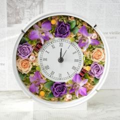 プリザーブドフラワー 花時計 エレガント パープル 新築祝い 開店祝い 開業祝い フラワーギフト
