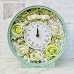 本州送料無料 アーティフィシャルフラワー 花時計 ホワイトグリーンローズ フラワーギフト 開店祝い 開業祝い 新築祝い