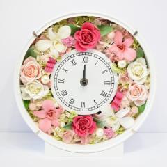 本州送料無料 プリザーブドフラワー 優しいピンク 花時計 開店祝い 開業祝い 新築祝い 結婚祝い