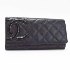 b08cd8c34401 シャネル カンボンライン 二つ折り長財布 ブラック×ブラック 内側ピンク カーフスキン ココマーク A50077