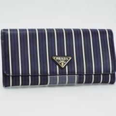 プラダ サフィアーノ 二つ折り長財布 パスケース付き ストライプ ブルー ブラック ホワイト 1MH132 中古 PRADA レディース メンズ