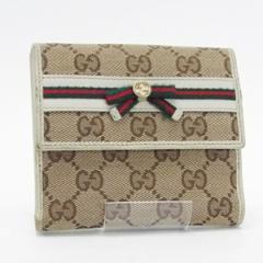 グッチ GGキャンバス メイフェア Wホック財布 二つ折り財布 リボン ベージュ アイボリー 256997 中古 GUCCI レディース