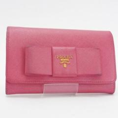 プラダ 二つ折り財布 ミディアム財布 サフィアーノ ピンク リボン 1M1438 中古 PRADA レディース