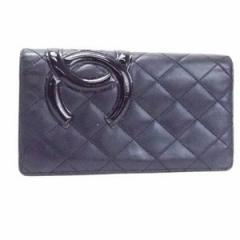 シャネル カンボンライン 二つ折り長財布 ブラック ブラック 内側ピンク A26717 ココマーク 中古 CHANEL レディース