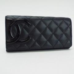 シャネル カンボンライン 二つ折り長財布 ブラック ブラック 内側ピンク ココマーク A50077 中古 CHANEL レディース