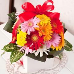 カラフルポップ・ガーベラアレンジ「ダイヤ」(ガーベラアレンジ) 誕生日プレゼント 女性 彼女 母親 妻 フラワーアレンジメント
