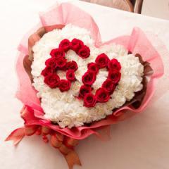 【送料無料 フラワーケーキ フラワーアレンジメント 数字ハート(バラ 選べる数字・記念日用バラ&カーネーションアレンジメント)誕生日