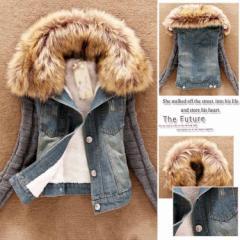 アウター デニムジャケット レディース 冬 裏起毛 ファー付き ポケット付き 大きいサイズM L XL 2XL 3XL 4XL