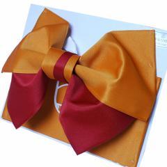 京都・西陣日本製シンプル2色浴衣帯作り帯結び帯山吹×茶付帯レディース女性用