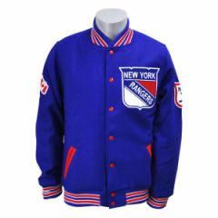 NHL レンジャース ジャケット ブルー ミッチェル&ネス Wool/Leather Varsity Front Snap ジャケット