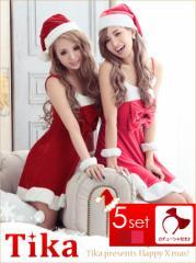 a0bf71e6dc5a3 Tika ティカ サンタ 衣装 5set ダブルリボンサンタコスチュームセット (Mサイズ Lサイズ
