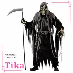 Tika ティカ 5点set メンズ死神コスチュームセット (ローブ+フード+マスク+手袋+鎖)  ハロウィン