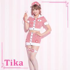 tika Tika ティカ アメリカン ストライプ ナース セットアップ コスチューム ホワイト レッド Mサイズ トップス スカート カチューシャ