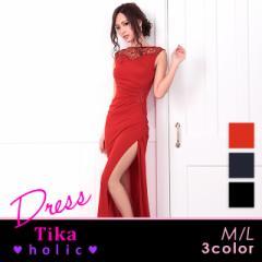 Tikaholic ティカホリック セクシータイトロングドレス(M〜Lサイズ)(ブラック/ネイビー/レッド)キャバドレス 大きいサイズ 黒 赤 紺