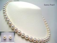イソワパール オーロラ・花珠 アコヤ 真珠 8-8.5mm ネックレス ルース セット ホワイトピンク グッドクオリティ 真珠 パール