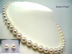 イソワパール オーロラ・花珠 アコヤ 真珠 8.5-9mm ネックレス ルース セット ホワイトピンク グッドクオリティ 真珠 パール