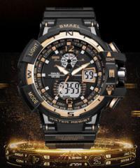 メンズ腕時計デジタル多機能メンズLEDブラック×ゴールド