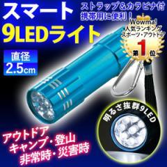 懐中電灯 LED ハンディライト カラビナ付き 単4電池式 9LED ストラップ 防災 災害 釣り キャンプ アウトドア メール便 送料無料