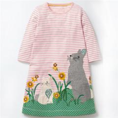 キッズワンピース ウサギプリントボーダー ヨーロッパ向けデザイン高級子供服ブランド W.L. Monsoon