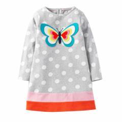 キッズワンピース 蝶プリント ヨーロッパ向けデザイン高級子供服ブランド W.L. Monsoon