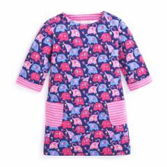 キッズワンピース ゾウプリント ヨーロッパ向けデザイン高級子供服ブランド W.L. Monsoon
