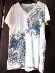 和柄VネックTシャツ 鯉ブルー