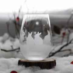 うさぎモチーフのタンブラー グラス【vol.2】雪のうさぎたち オリジナル プレゼント 誕生日 記念日