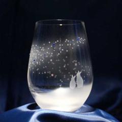 うさぎモチーフのタンブラー グラス【vol.3】青い天の川へ オリジナル プレゼント 誕生日 記念日