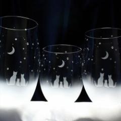 猫モチーフのグラス(親子グラスセット)【家族でみる三日月の夜空】 猫 ねこ タンブラー ハンドメイド プレゼント